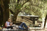 Couple enjoying time together near their RV